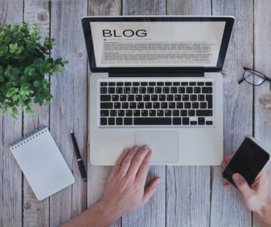 writing a blog, blogger influencer reading text on screen